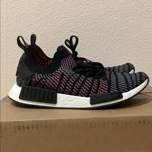 nmd r1 STLT black, grey, pink